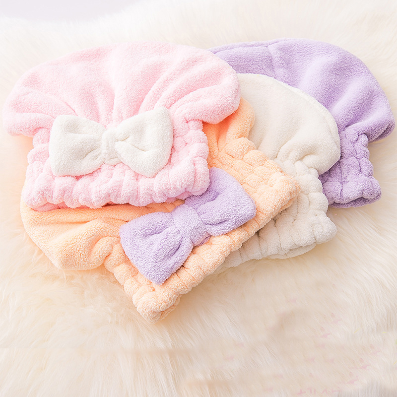 Adult Quick Drying Hair Shower Cap Bath Head Hat Towel Bow Tie Women Strong Absorbent Pink Blue Seven Colors Bathroom Accessory