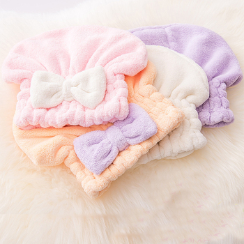 Adult Quick Drying Hair Shower Cap Bath Head Hat Towel Bow tie Women Strong Absorbent Pink Blue seven Colors Bathroom Accessory lx 9009 cozy fiber bath towel shower cap blue