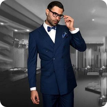 Navy Blue Men's Classic Suits Groom Wedding Tuxedo Double Breasted Custom Made Man Blazer 2Piece Coat Pants Costume Homme Ternos