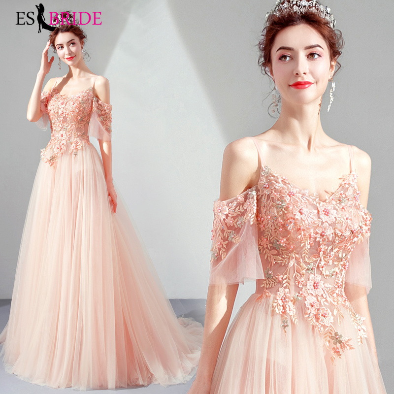 Sexy   Evening     Dresses   Long Pink Short Sleeve V-Neck Backless Sparkle Formal Party Gowns 2019 Elegant Lace Robe De Soiree ES2044
