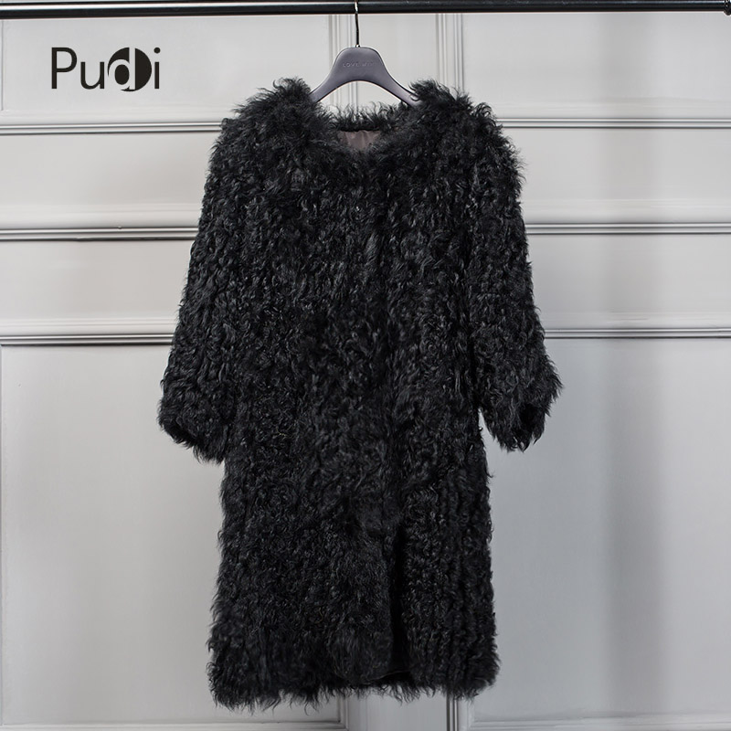 Pudi CT7015 The new winter women's fur coats are used 100% of Mongolian wool coats to keep them warm