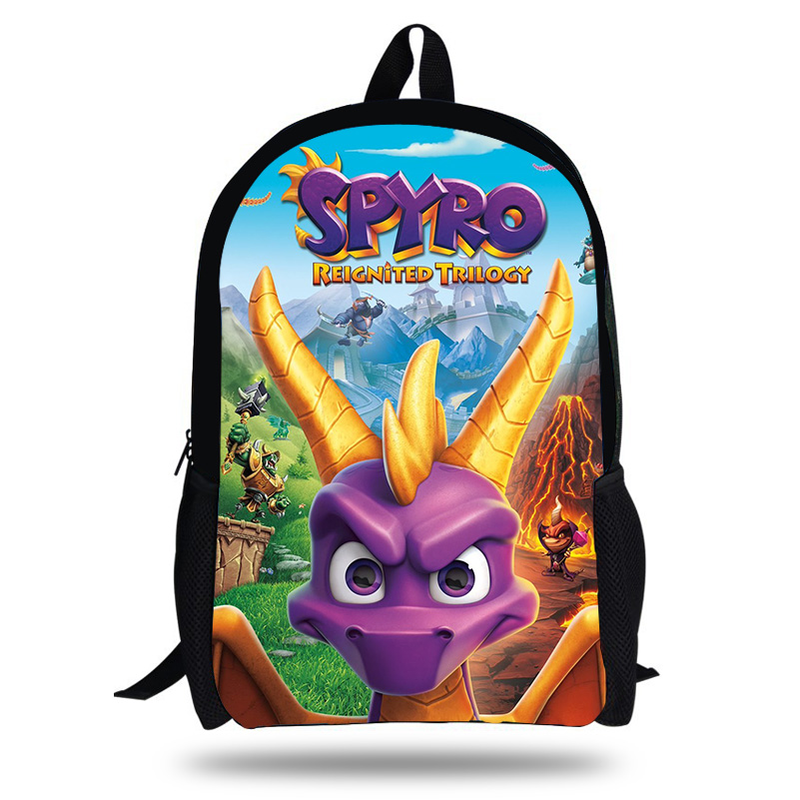 New 16-Inch Laptop Backpack for Children Pop Game Spyro The Dragon Printing School Bags for Teenages Boys Girls Daily Bookbag image