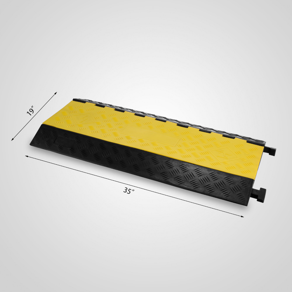 5 Channel Cable Protector Rubber Cable Protector Ramp Capacity 18,000 lbs Black and Yellow