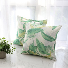 New Cushion Cover Nordic Wind Plant Pillow Banana Leaf Double Ins Simple Green Sofa Pillowcase Without Core