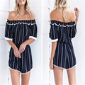 Lasperal 2017 new sexy playsuits listrado barra pescoço mini vestido a linha de vestido para as mulheres off-ombro elegante vestido de verão casuais