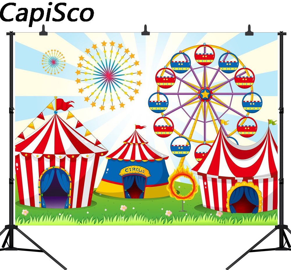 Decor Photobooth Us 7 69 45 Off Capisco Circus Tent Birthday Party Photo Background Carnival Backdrop Decor Amusement Park Photography Backdrops For Photobooth In