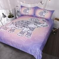3 Piece Royal Elephant Bedding Turtle Bed Set Mandala Lotus Duvet Cover Indian Art Pretty Pink Lavender Bedspread