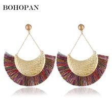 Bohopan Metal Moon Big Dangle Earrings Women Vintage Multi-color Statement Tassel Fashion Wedding Jewelry Accessories