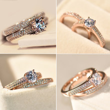 c1fb46611 Bamos Brand Female Small Round Ring Set Zircon Ring Fashion White/Rose Gold  Filled Jewelry Promise Engagement Rings For Women
