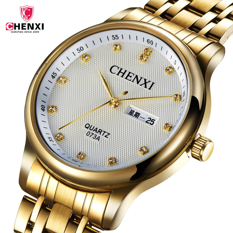 CHENXI Quartz Wristwatch Business Stainless-Steel Luxury Gold Fashion Famous-Brand Men