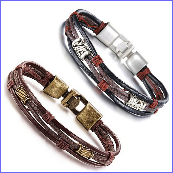 Braided Men Bracelet 2017 Fashion Vintage Leather Bracelet ...
