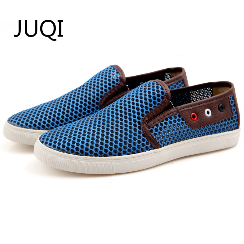 JUQI 2018 MenS Casual Shoes Men Shoe For Mesh Breathable Loafers Summer And Autumn Patchwork Light Rubber Shoes Mocassin Homme