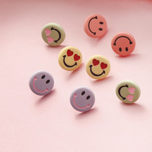 Korean Resin Cartoon Smile Face Sweet Cute Woman Girls Stud Earrings Fashion Jewelry Holiday-KQQE