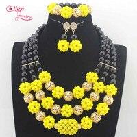 Fabulous Yellow Crystal Balls Wedding Jewelry Set Black Bridal Indian Jewellery Necklace Set New 2017 N0070