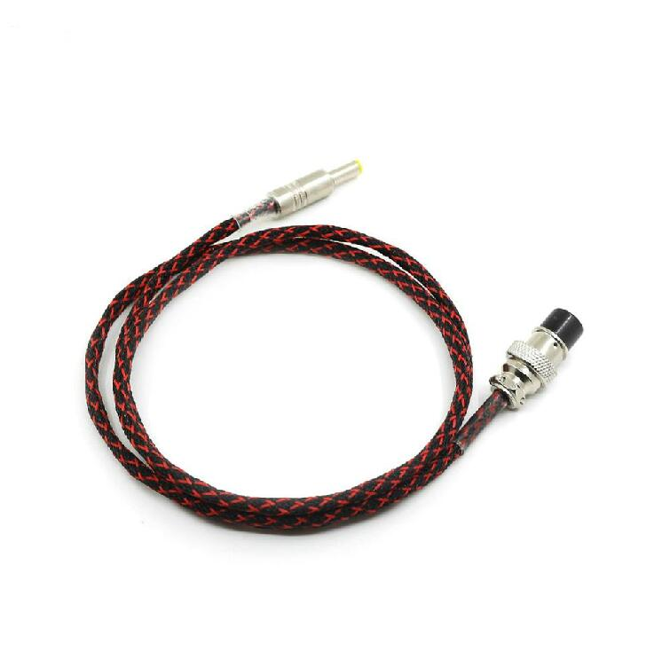 1.2M GX16-2P TO 5.5*2.1mm Teflon Silver Plate DC Power Supply Cable Free Ship