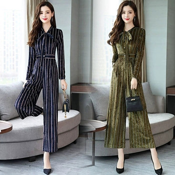 2019 Spring New Large Size Womens And Autumn Fashion Gold Velvet Jumpsuit Suit Trend Loose