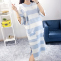Pregnant women section of blue striped pajamas, spring and autumn section of nursing clothing, maternity clothes in winter