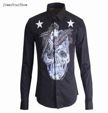 New Fashion Spring Autumn Catwalk Men's Clothing Feather Star Skull Print Long-sleeve Cotton Slim Men Shirt Plus Size Men Shirt