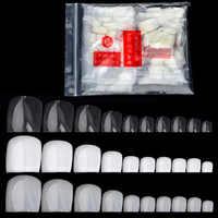 500 pz/pacco Falso Artificiale Acrilico False Toe Nails Tips Naturale Bianco Trasparente Unghie Dei Piedi Piede Manicure Strumento di Bellezza Del Chiodo