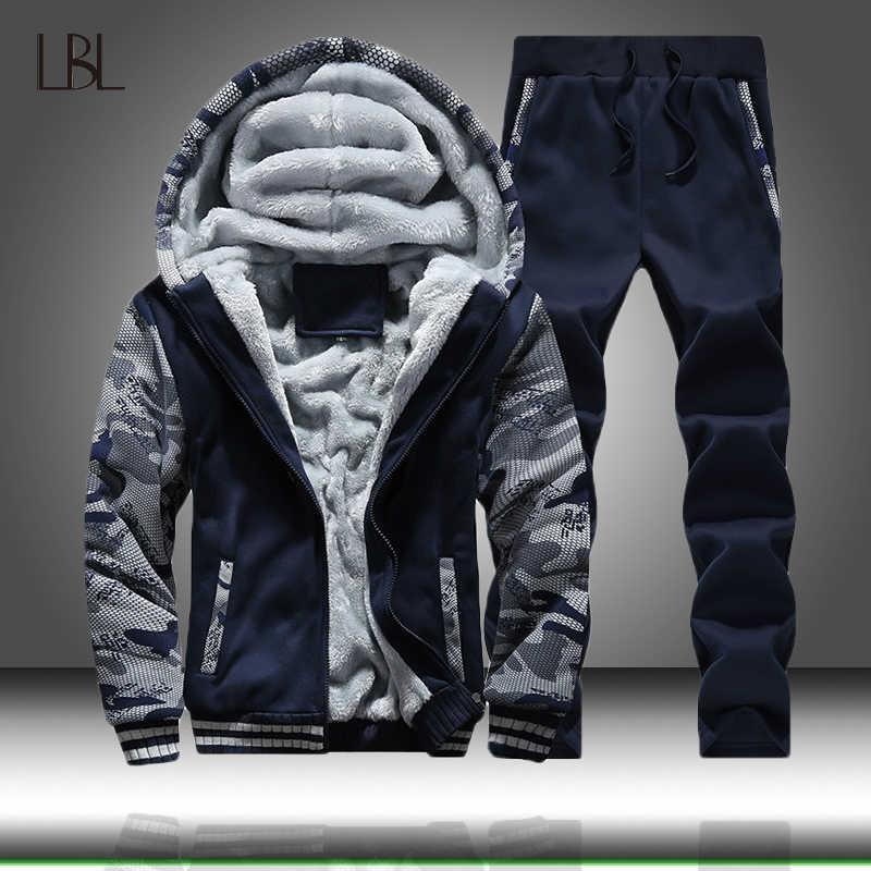 Зимний спортивный костюм для мужчин, толстый флисовый спортивный костюм на молнии, мужские повседневные толстовки с капюшоном + штаны, спортивный костюм для мужчин из 2 предметов, спортивная одежда для мужчин