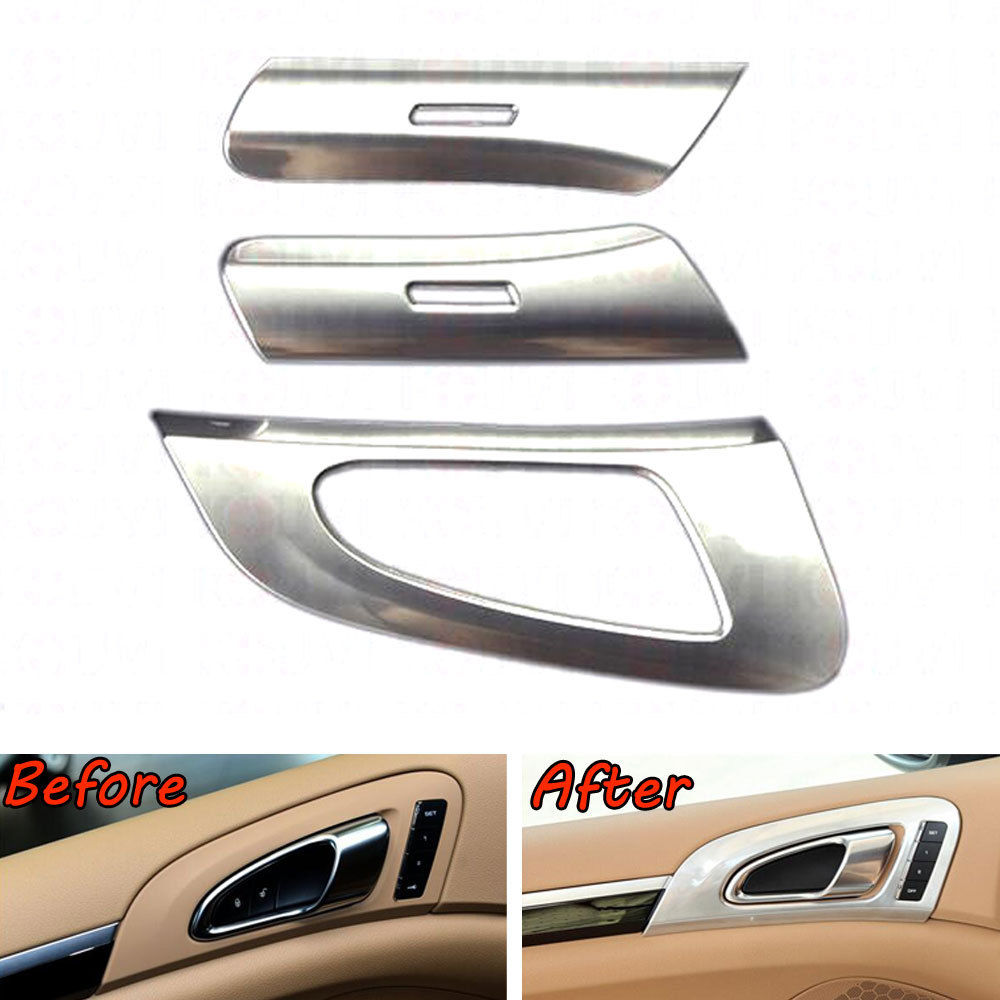 6x Auto Car Styling Inner Door Handle Button Bowl Decorative Cover Molding Trim Sticker Fit For Cayenne 2011-2016 Accessories 6pcs abs chrome interior inner door side handle bowl cover trim for 2011 2012 2013 2014 2015 2016 porsche cayenne car styling