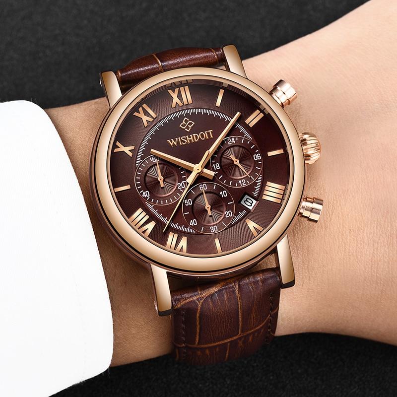 WISHDOIT Mens Watches Top Brand Luxury Business Leather Watch Men Military Waterproof Quartz Sport Watch Relogio Masculino