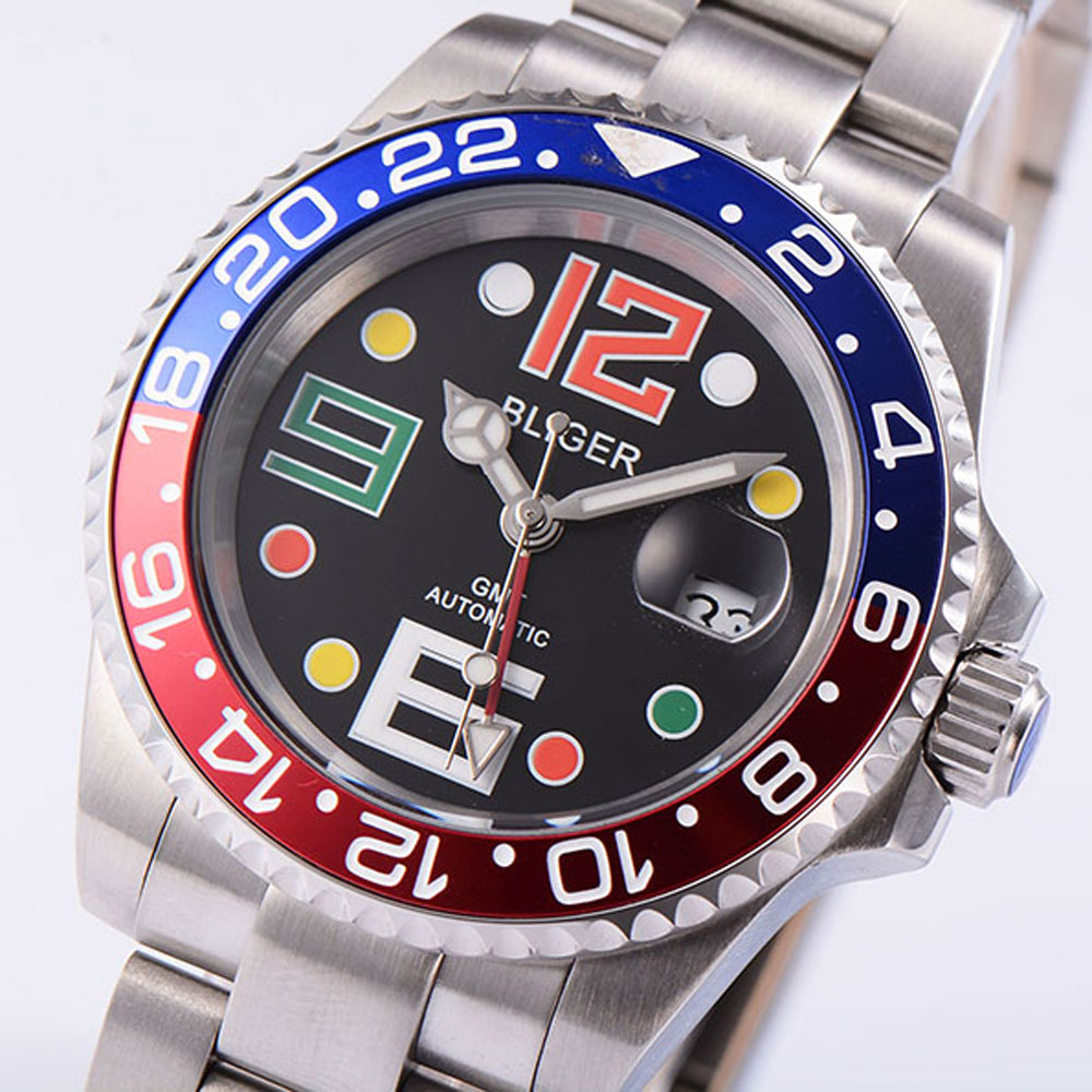 Sapphire Crystal BLIGER 40mm Black Dial Blue Red Alloy Bezel GMT Function Luminous Stainless Band Automatic Movement Men's Watch