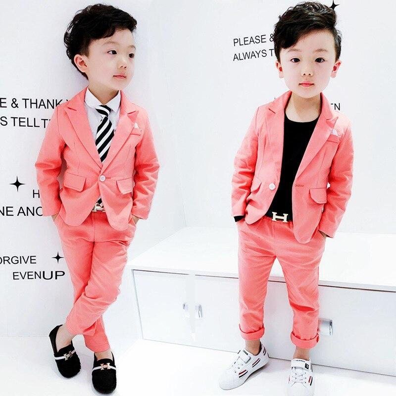 2018 Neue Heiße Rosa Baby Blazer Anzüge Gute Qualität Dünne Jungen Party Anzüge 2-10 Jahre Alte Kinder Kostüme Hochzeit Blume Jungen AusgewäHltes Material