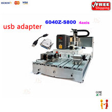 HIGH quality cnc 6040 engraving milling machine with 800w water cooling spindle USB adapter have rotary axis