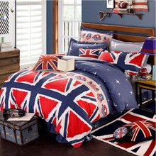 The Union Jack Bedding sets 6pcs duvet doona quilt fitted cover ned sheet 100% cotton king queen full twin size bedclothes linen