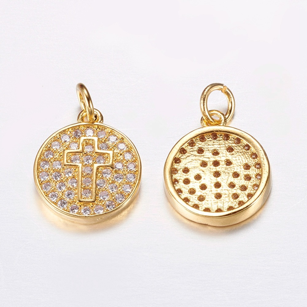 10pcs 13x11x2mm Brass Micro Pave Cubic Zirconia CZ Charms, Cadmium Free & Lead Free, Flat Round with Cross, Golden, Hole: 2mm