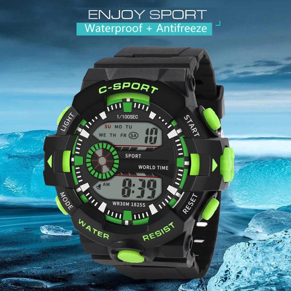 LED Digital Watches Men Sports 30M Professional Waterproof Date Military Rubber Quartz Luminous 2019 Fashion Sports Watch