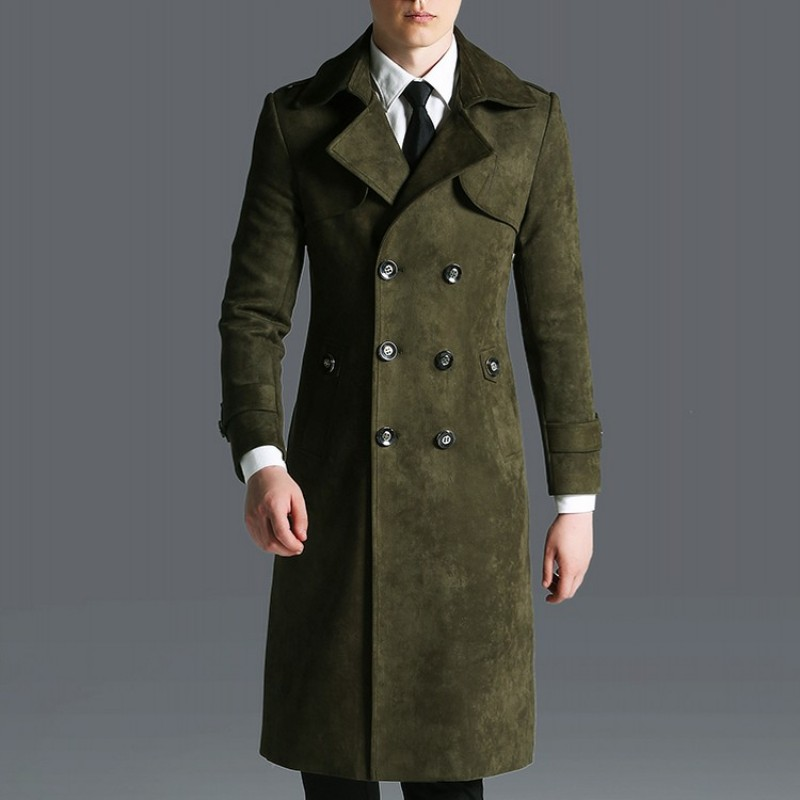 England Business Men Maxi Long Faux Suede Leather Trench Mantel Army Military Overcoat Slim Fit Windbreaker Coat Big Size 6XL