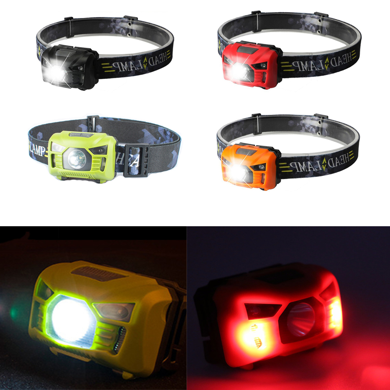 Sensor Headlight Headlamp LED Red Head Light Lamp USB Rechargeable Mini Head Torch Outdoor Camping Flashlight for Camping r3 2led super bright mini headlamp headlight flashlight torch lamp 4 models