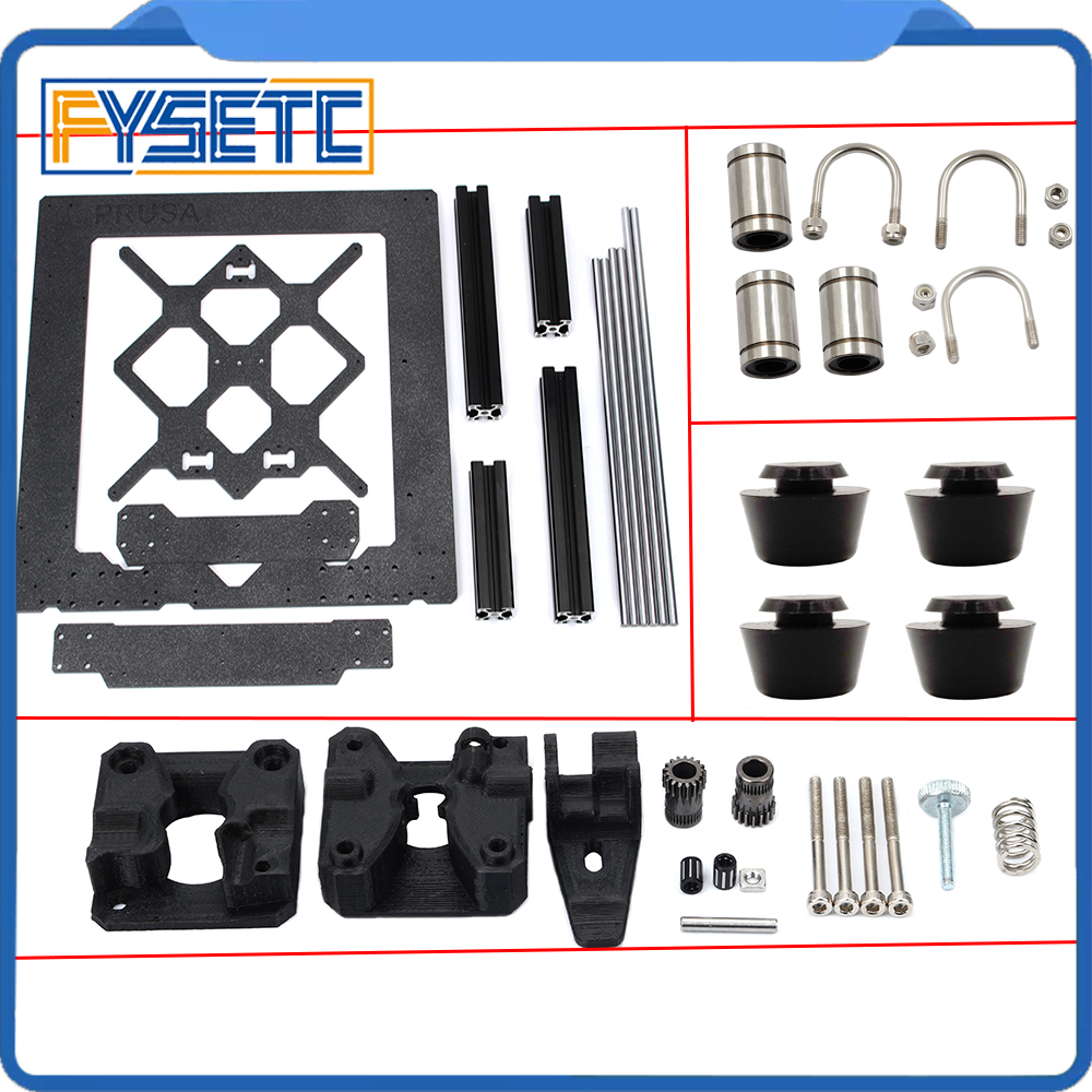 Aluminum Alloy Frame Y Carriage Front Plate + Aluminum Profile Smooth Rods Kit +U bolts LM8UU + Drivegear Kit For Prusa i3 MK3