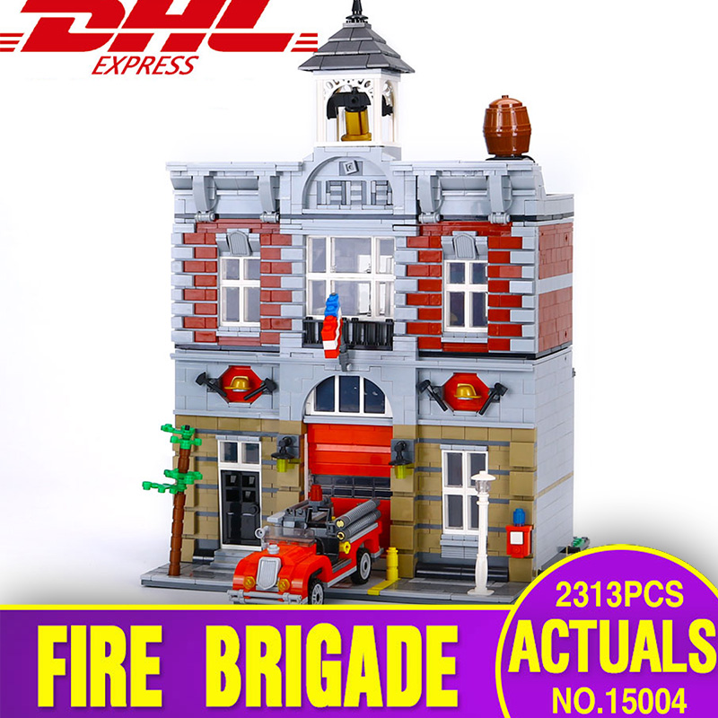 DHL Lepin 15004 City Street Fire Brigade Model Building Kits Blocks Bricks Compatible with Legoing 10197 Toys for children gift compatible lepin city mini street view building blocks chinatown satin silk store with saleman figures toys for children gift