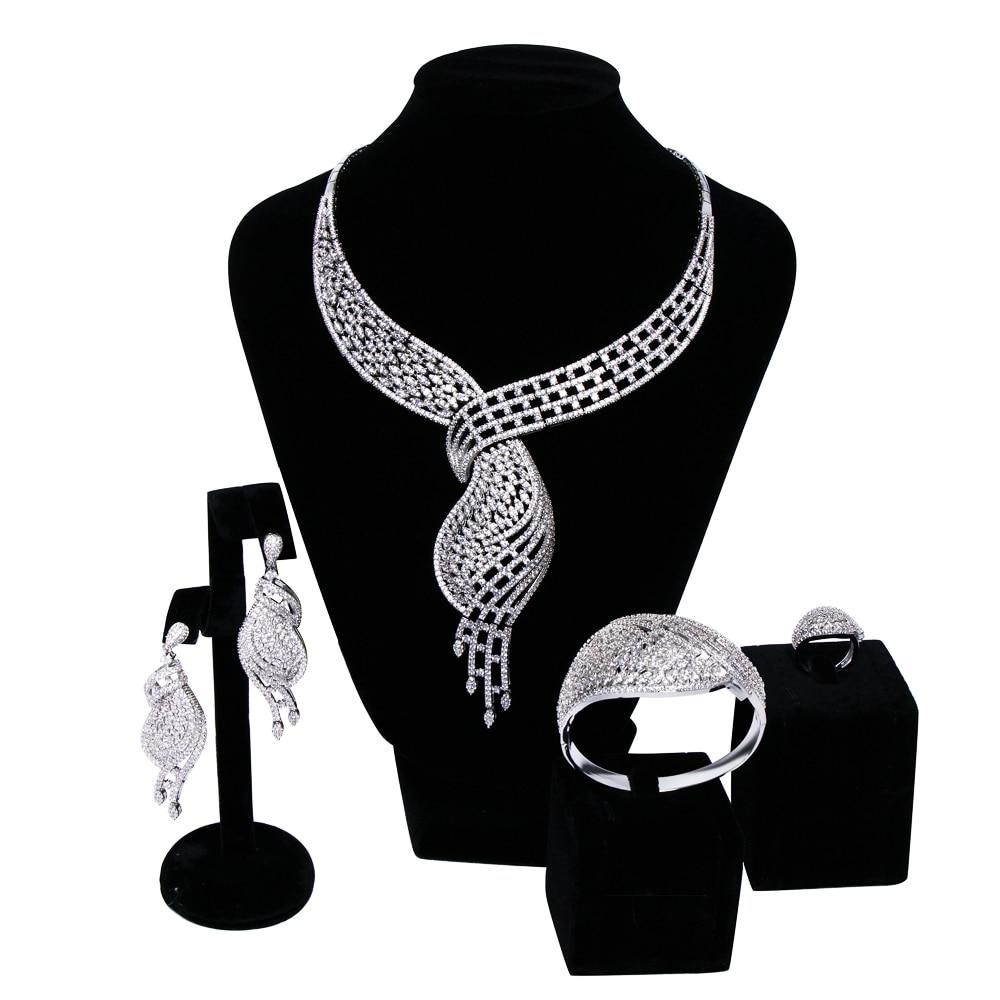 New Women wedding Jewelry Sets setting Cubic zircon 4pcs sets ( necklace + bracelet + earrings + ring) free shippingNew Women wedding Jewelry Sets setting Cubic zircon 4pcs sets ( necklace + bracelet + earrings + ring) free shipping