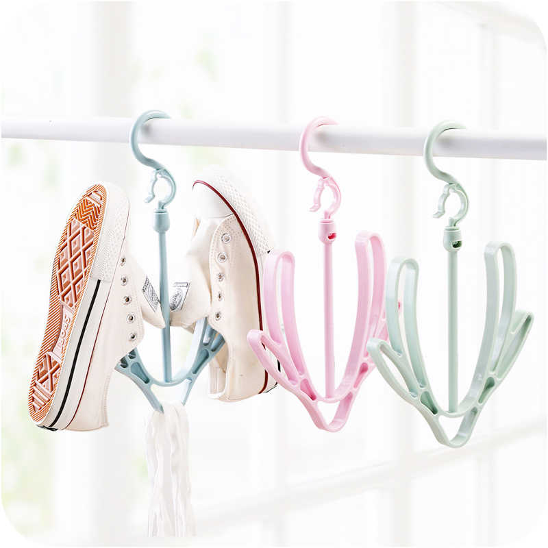 Drying Rack Shoe Rack Stand Hanger Organizer Good Hooks Plastic Shoes Drying Rack Shoes Hanging Storage Shelf for Outdoor