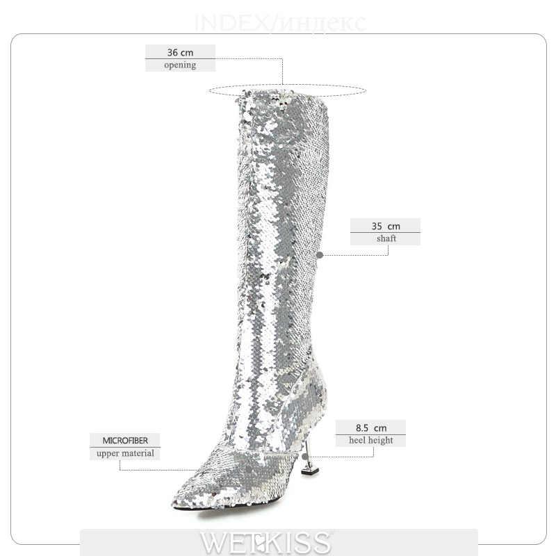 WETKISS Artı Boyutu 32-43 Ince Yüksek Topuklu Kadın Çizme Bling Sivri Burun Ayakkabı Diz Yüksek Bayan Botları kauçuk ayakkabı kadın Siyah