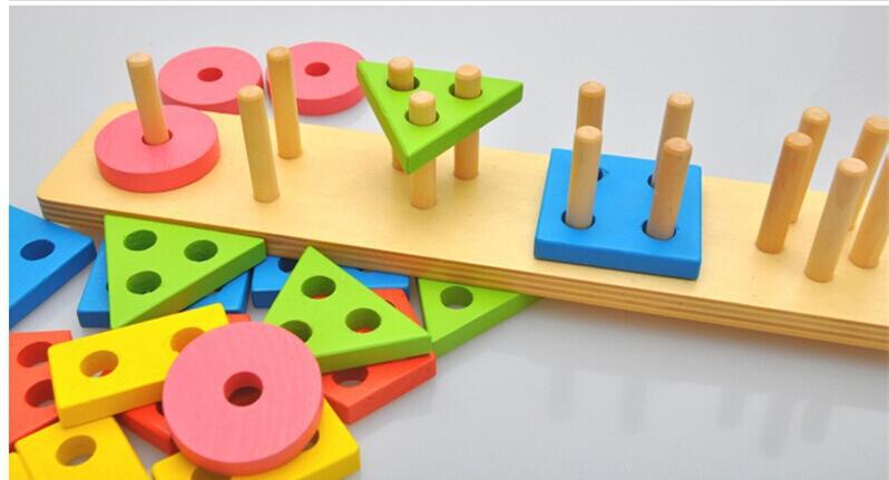 Montessori Toys Wooden Blocks Geometry Shape Model Building Kits Children Educational Toy Wood Building Blocks 7