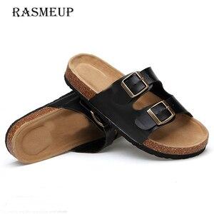 Image 2 - RASMEUP עור נשים של נעלי 2018 קיץ רך פקק אבזם כפכפים נשים חוף שקופיות מקרית לבן אישה כפכפי נעליים