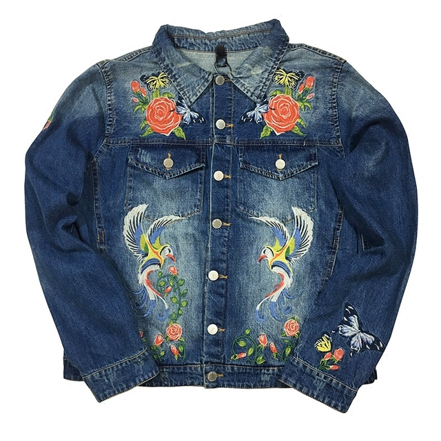 2017 Autumn European Style Floral Embroidered Jacket Ladies Lapel Collar  Long Sleeve Vintage Denim jacket Single