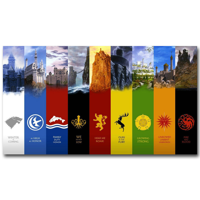 Game Of Thrones Banners Art Silk Fabric Poster Print