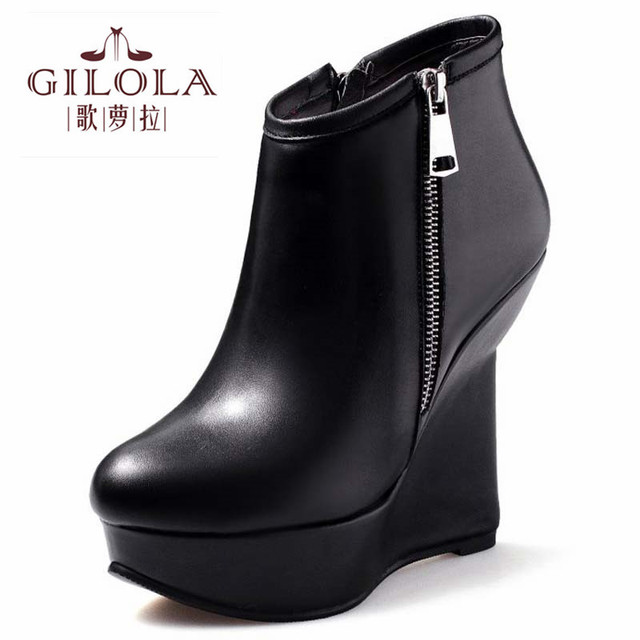 89a6f6da8e0 platform wedge high heels ankle genuine leather boots motorcycle women boots  women shoes autumn woman black fashion  Y0630536F