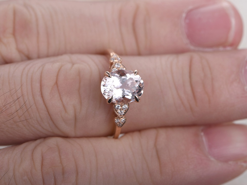 MYRAY 14k Rose Gold 8x10mm Oval Cut Natural Pink Morganite Vintage Women Diamond Engagement Ring Wedding Anniversary Rings Gifts