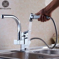 50 Off Factory Direct Sale Modern Solid Brass Pull Out Spray Chrome Finish Kitchen Faucet Mixer