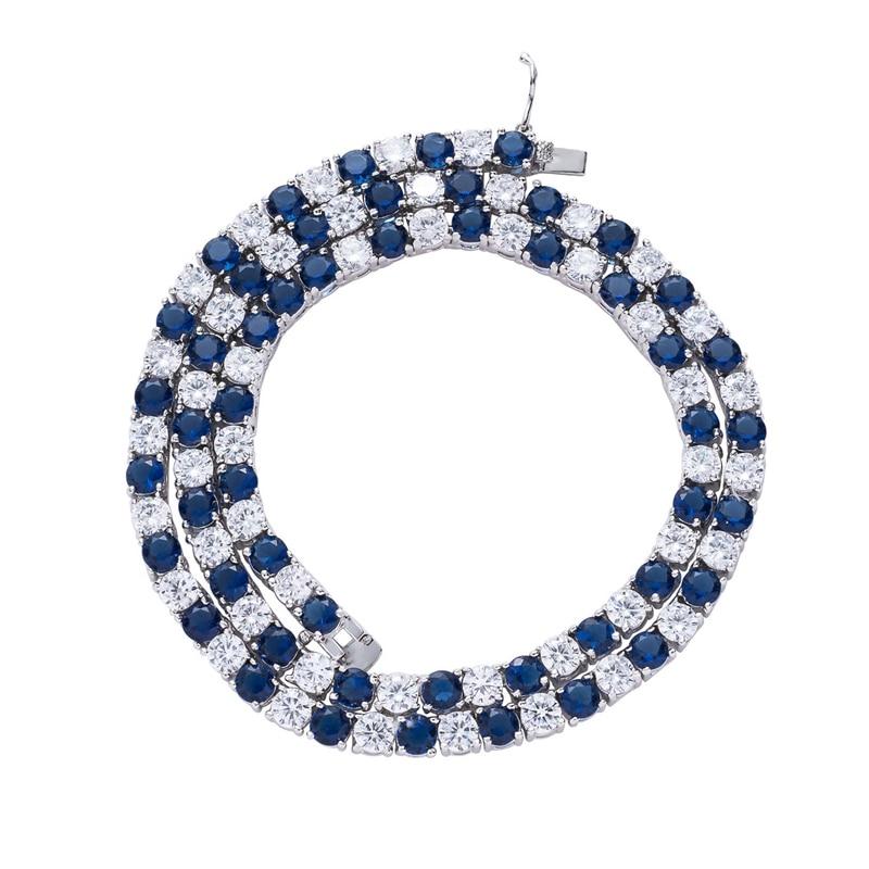 1 rangée 5mm Tennis collier bleu blanc strass chaîne Choker hommes Hip hop rue Rock bijoux 18 pouces # SS30