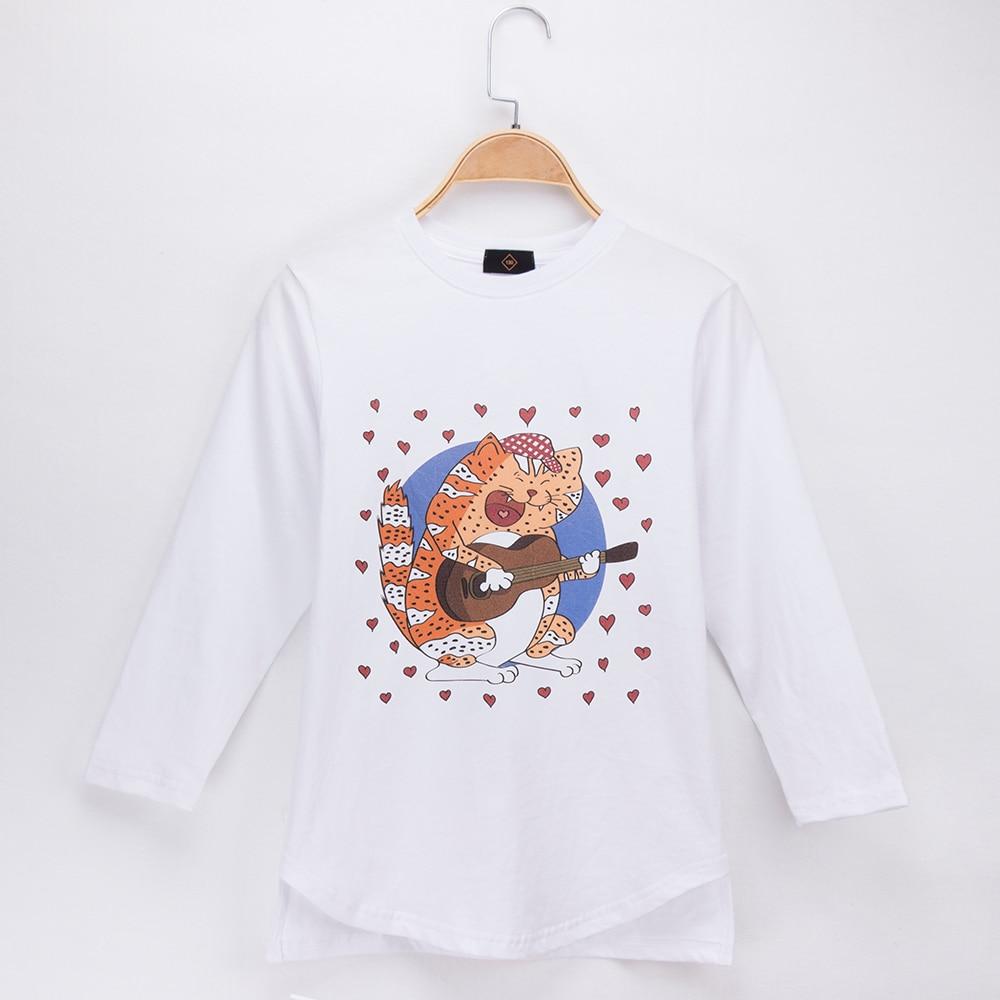 2018 Fashion Children Clothing Kids T-shirt Cat Rock Print 100% Cotton Long Style Full Boys TShirt Girls Tops Tee Baby Clothes