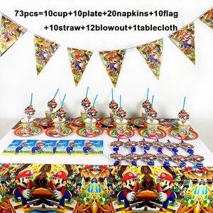 Image 1 - 73 개/몫 생일 파티 용품 일회용 식기 슈퍼 마리오 브라더스 파티 용품 장식 종이 냅킨 플레이트 컵