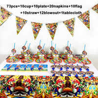 73PCS/LOT Disposable Tableware For Birthday Party Supplies Super Mario Bros Party Supplies Decoration Paper Napkin Plate Cups